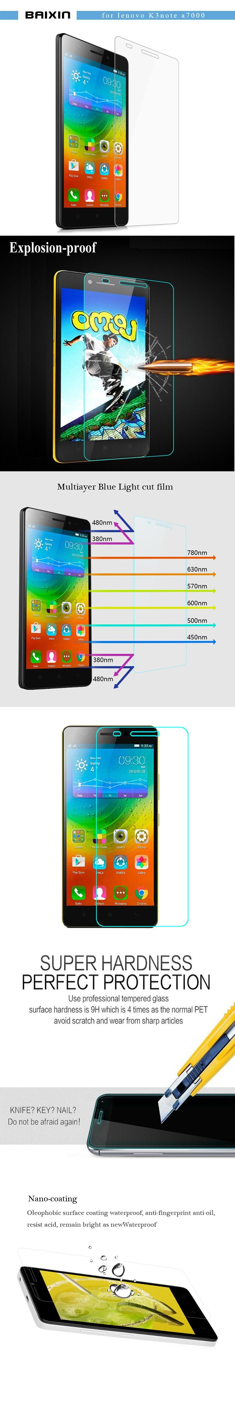 03mm Premium Tempered Glass For Lenovo K3 Note Screen Protector Samsung J1 2016 Kaca Pelindung Layar A7000 K50