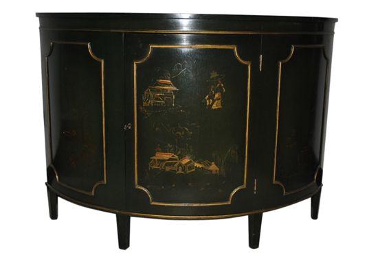 Vintage Black Demilune Cabinet Asian Theme By AardvarkAntiques