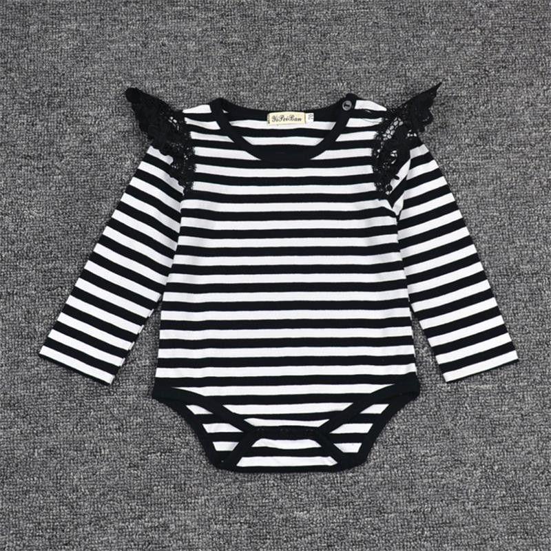 fbf6d09d57d Hot Newborn Infant Baby Girl Bodysuit Floral Long Sleeves Black White  Stripe Outfits Sunsuit Clothes