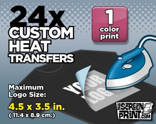 Plastisol, easy way to make custom tshirts.  24-Custom-Plastisol-Heat-Transfers-Iron-On-1-color-MAX-Logo-Size-4-5-x-3-5-in
