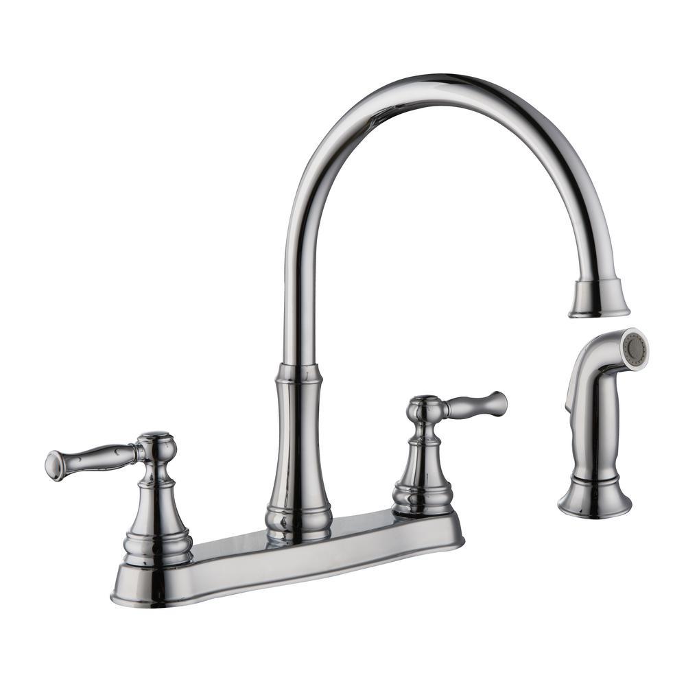 Glacier Bay Fairway 2 Handle Standard Kitchen Faucet With Side