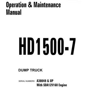 Komatsu HD1500-7 Dump Truck Operation & Maintenance Manual