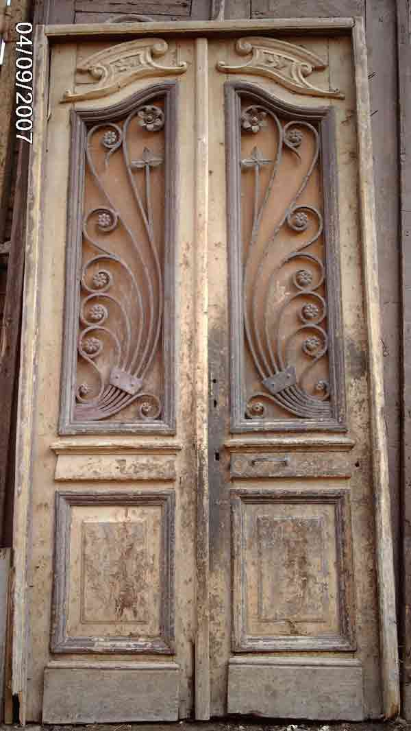 High Quality French Colonial Beech Pine / Iron Double Entry Doors 1