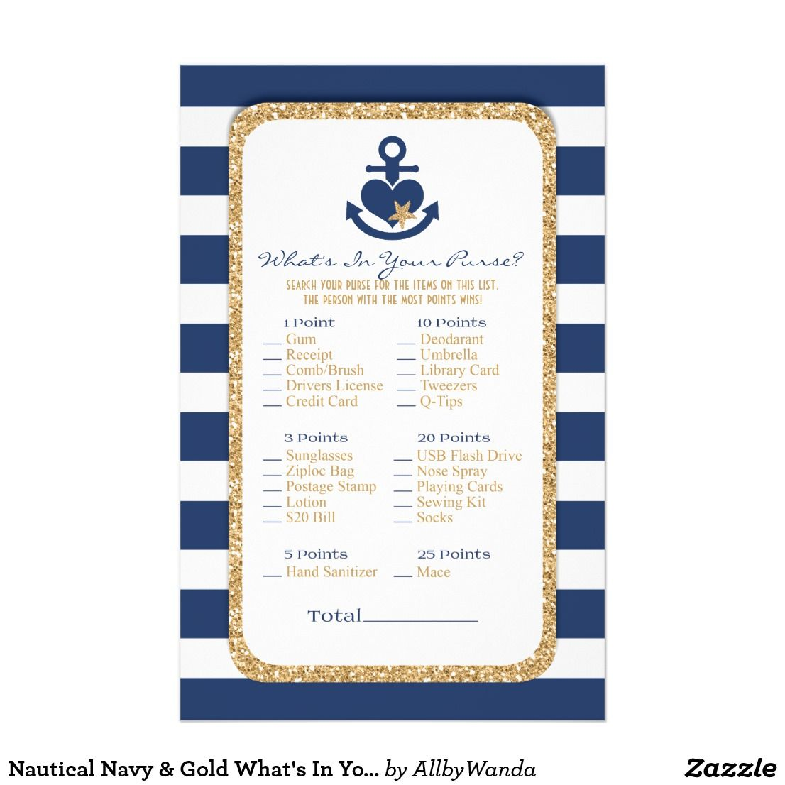 Nautical Navy Gold What S In Your Purse Flyer Zazzle Com Nautical Bridal Showers Whats In Your Purse Navy Gold
