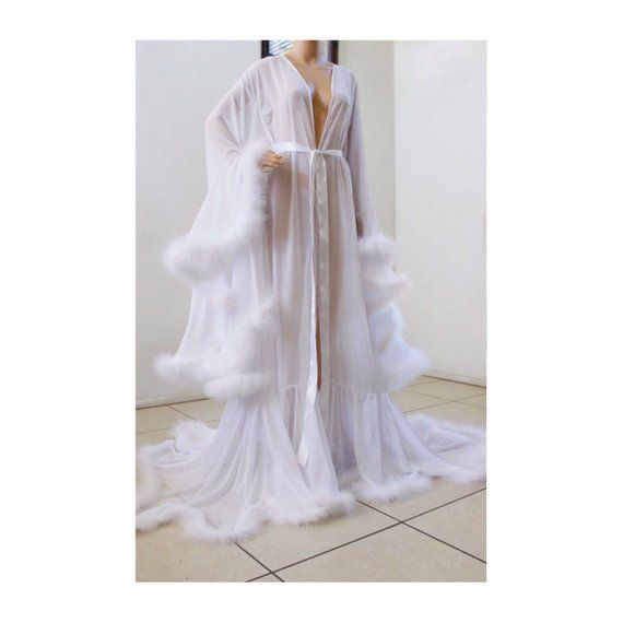 Luxury Sheer Fur Robe Lingerie  Porcelain White  . Feather trim robe with  satin ties. High quality l ad589f381