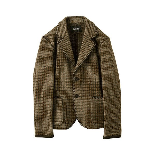 ガンクラブジャカード / ジャケット : 公式通販 ZUCCa ズッカ | HUMOR ユーモア (24.390 RUB) ❤ liked on Polyvore featuring outerwear, jackets, coats & jackets, blazer, brown blazer, zucca, blazer jacket and brown jacket