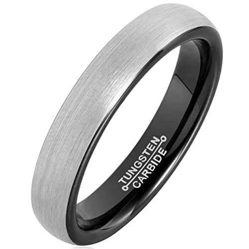 Men Women 4mm Silver Black Tungsten Carbide Ring Simple Style Wedding Jewelry Engagement Band Pipe Cut Matte Finish