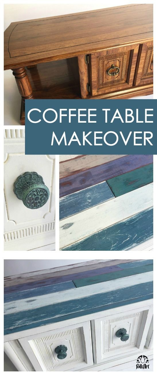 Coastal Coffee Table Makeover with Faux Shiplap