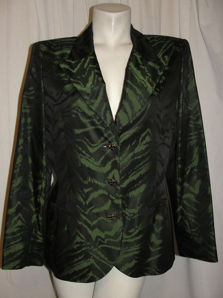 Bicci Florine Wachter Blazer Green Black Jacket Lined Long Sleeve Size 14 USA #BicciFlorineWachter #Blazer