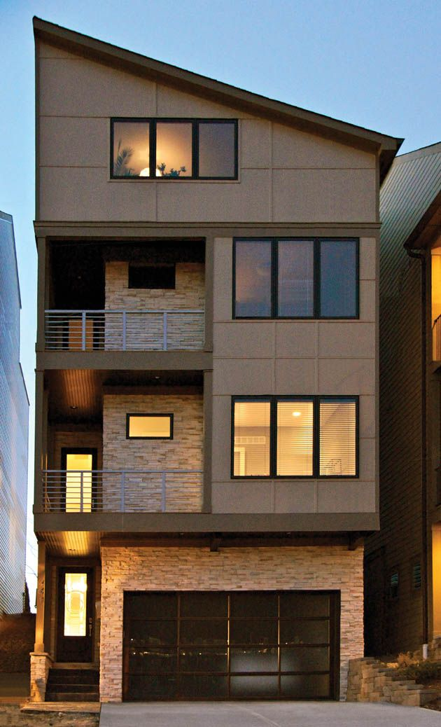 a four-story house that is tall and narrow with a footprint measuring 25  feet