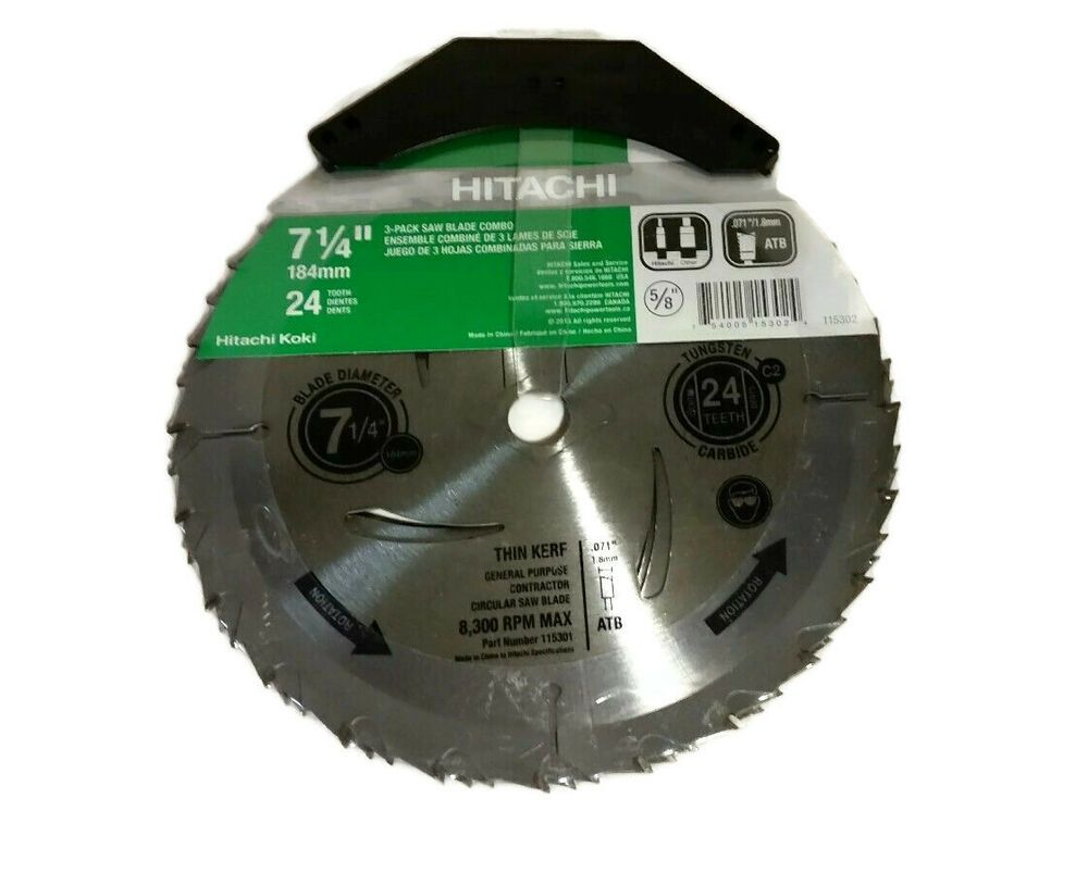 Hitachi 3 Pack 7 1 4 In 24 Tooth Standard Carbon Circular Saw Blades New Hitachi Circular Saw Blades Circular Saw Saw Blades