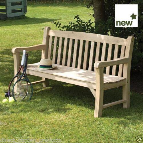 Solid Oak Garden Bench Wooden Benches Seats 3 Outdoor Park 400 x 300