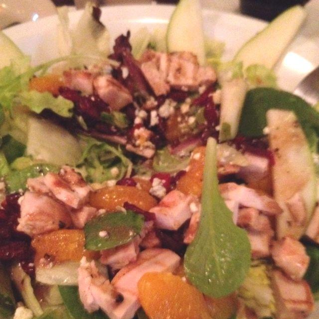 Salad with mandarin oranges, light blue cheese, dried cherries, pears, walnuts and balsamic vinaigrette ! Yum!