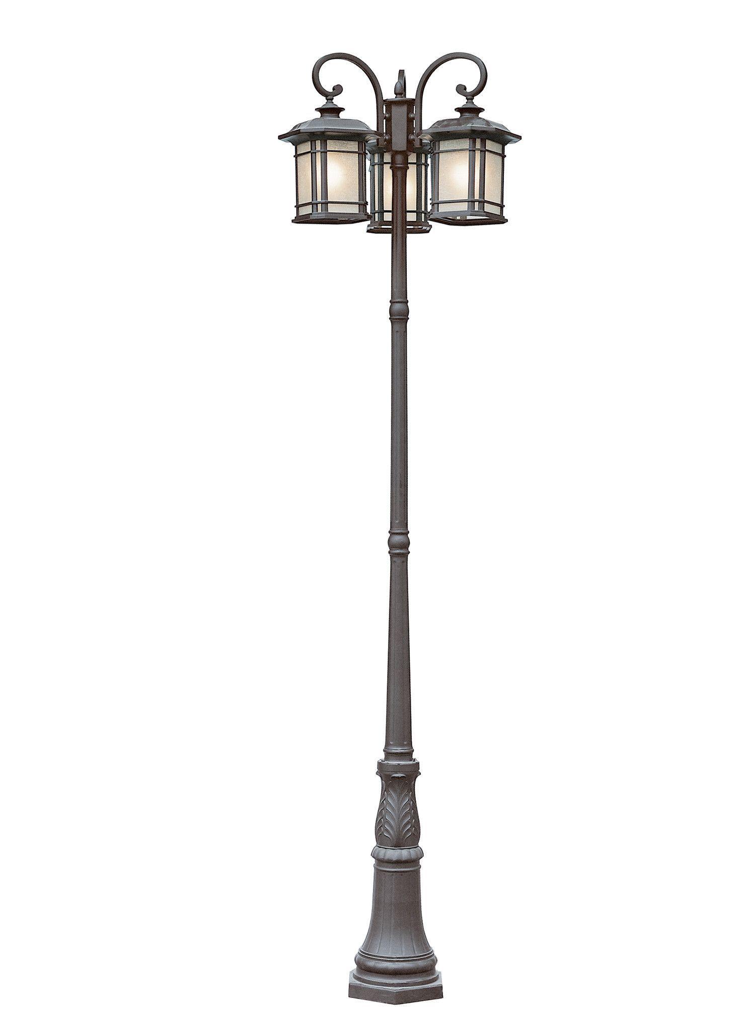 Trans Globe Lighting Pl 5827 Bk Corner Window 3 Lantern Lamp Post Lamp Post Lights Outdoor Post Lights Post Lights