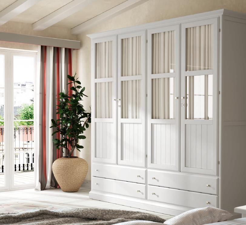 Armario oria 4 puertas visillo blanco tosca lacado for Armario de dormitorio blanco barato