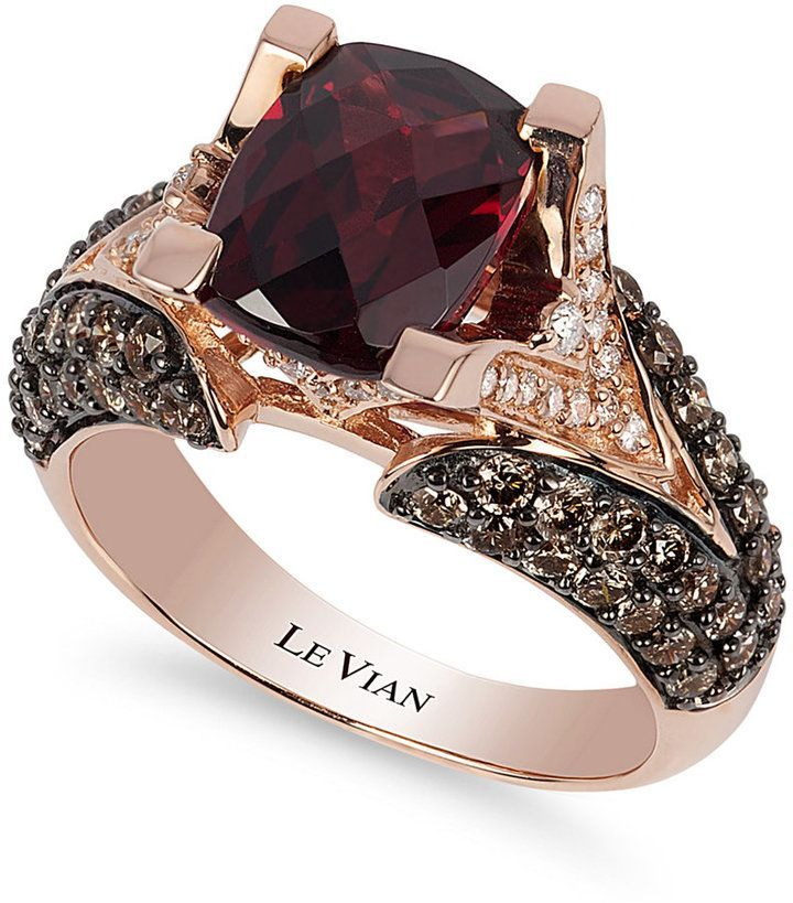 Le Vian Raspberry Rhodolite Garnet (3 ct. t.w.), Chocolate Diamond (1-1/5 ct. t.w.) and White Diamond Accent Ring in 14k Rose Gold