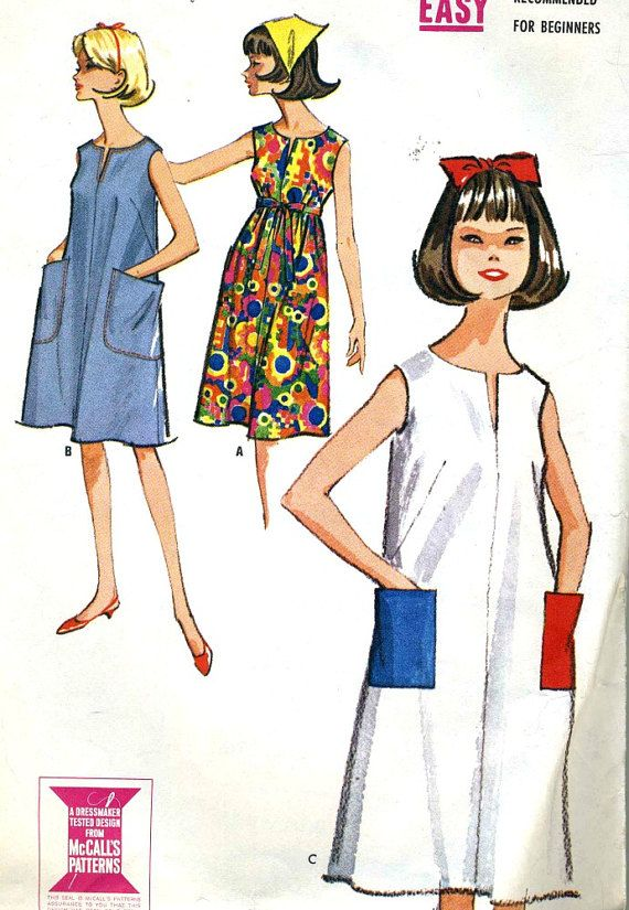 Vintage 60s McCalls 7302 Misses Easy to Sew Tent by RomasMaison | Fa