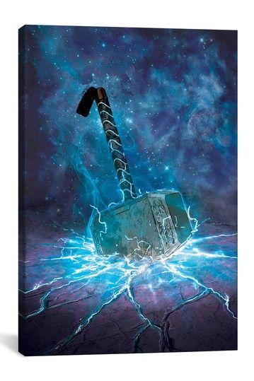 Marvel Comics The Dark World Thor S Hammer Illuminated Canvas