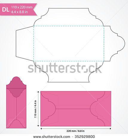 Die cut vector envelope template Standard DL size envelope to hold - money size envelopes