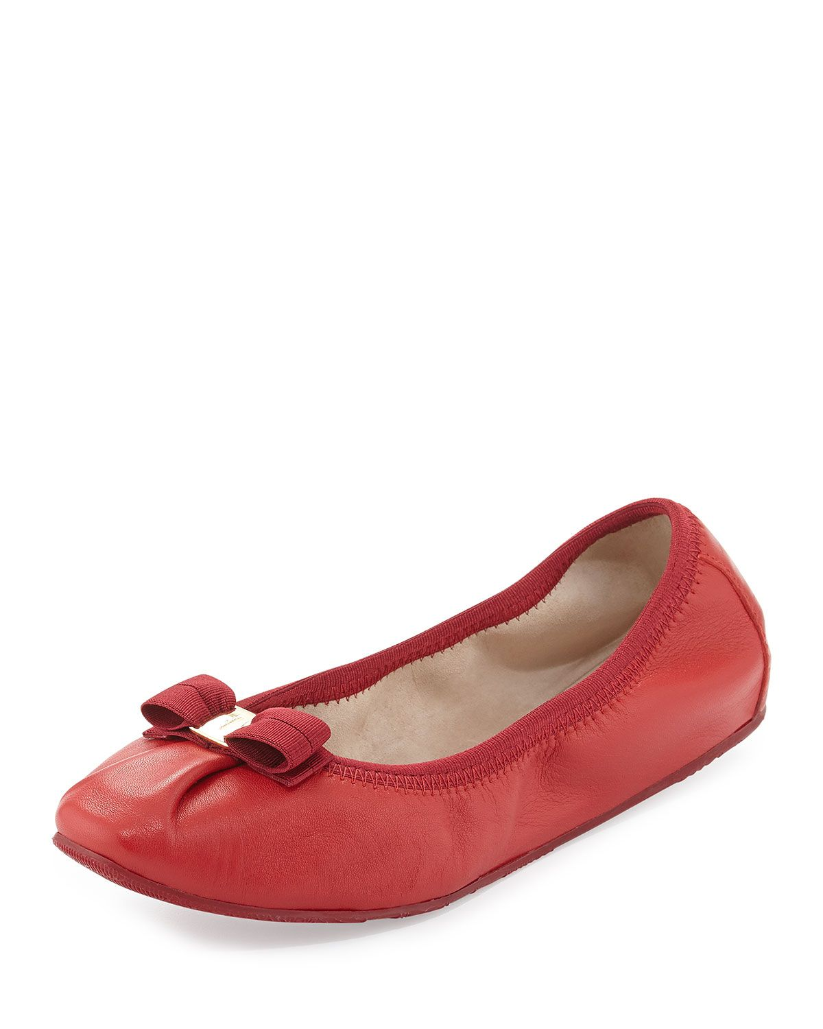 Salvatore Ferragamo My Joy Leather Ballerina Flat, Rosso (Red)