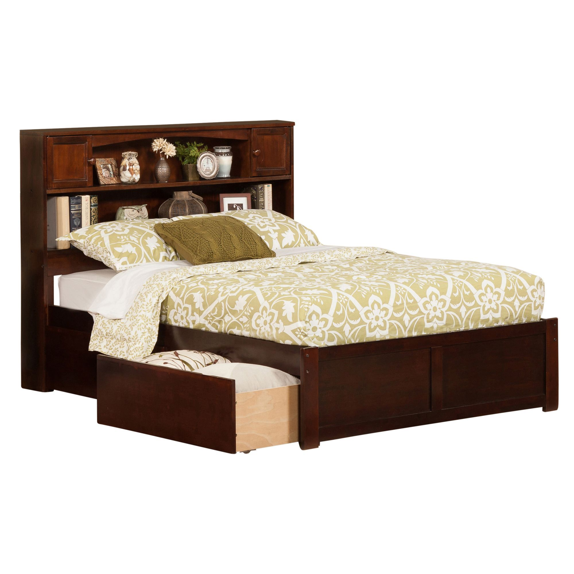 atlantic newport walnut finish wood full bed with flat panel foot