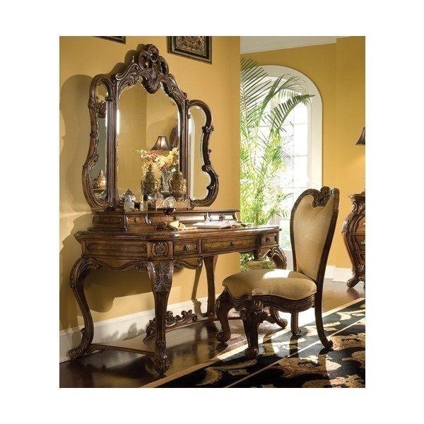 Vintage Dressing Table Set Antique Vanity Mirror Chair Louis ...