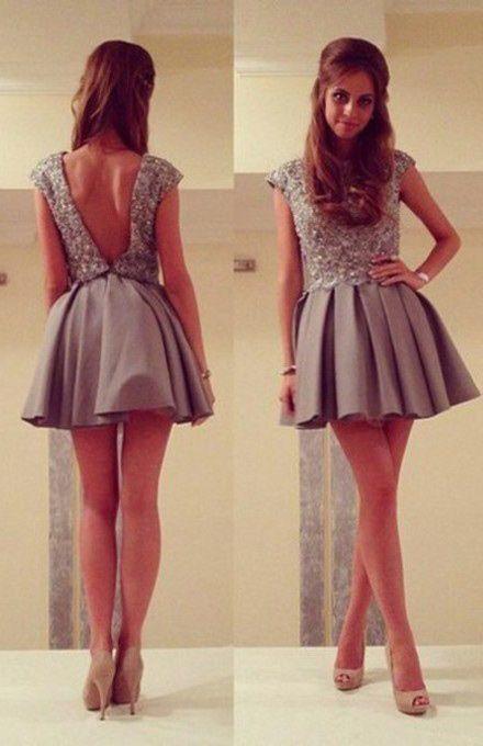 5ba4704f95 Sexy A-Line Jewel Backless Satin Short Grey Homecoming Prom Dress ...