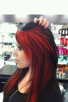 Black And Red Hairstyles For Long Hair In 2020 Hair Styles Edgy Hair Color Edgy Hair