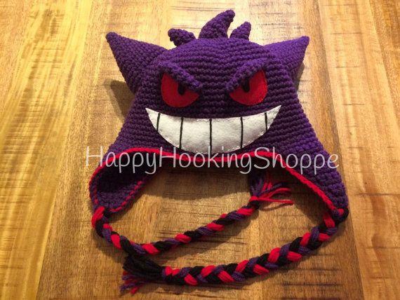 4ac43bdfe72 Crochet Gengar Hat by HappyHookingShoppe on Etsy ...