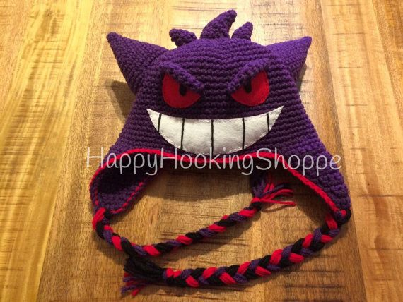 Crochet Gengar Hat by HappyHookingShoppe on Etsy ... 10ac48ad1d02