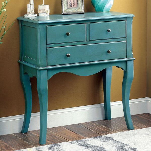 Enhance Your Entryway Or Hallway With This Delightfully Slim And Graceful  Eloisa Vintage Style Antique Teal Hallway Table. The Three Spacious Drawers  ...