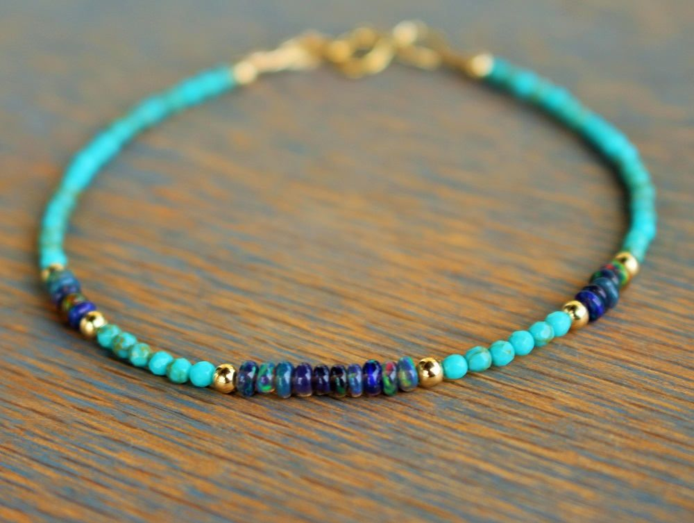 Opal Bracelet Turquoise Minimalist Delicate Beaded Gemstone Skinny Stacking Gift For Her