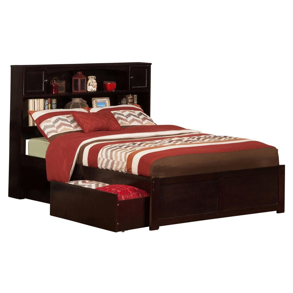 Atlantic Furniture Newport Espresso Full Platform Bed With Flat Panel Foot Board And 2 Urban Bed Drawers Brown In 2020 Atlantic Furniture Bed With Drawers