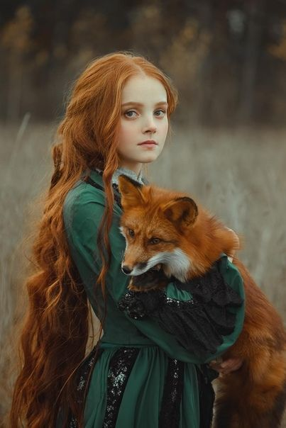 Mädchen und Fuchs ... sie haben die gleichen roten Haare o: #gleichen #roten #leutezeichnen