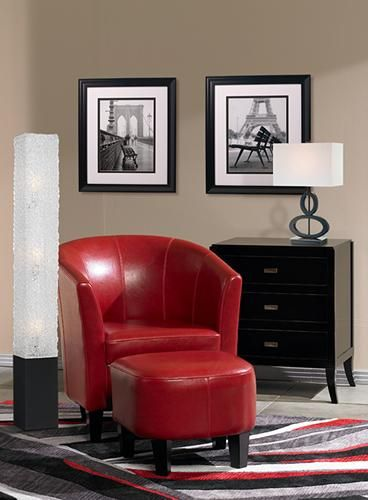 Living room color scheme idea - modern red black white and grey