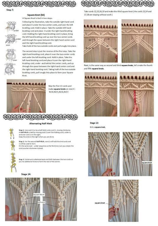 pdf instructions macrame curtain basteln makramees pinterest kn pfen makramee vorhang. Black Bedroom Furniture Sets. Home Design Ideas