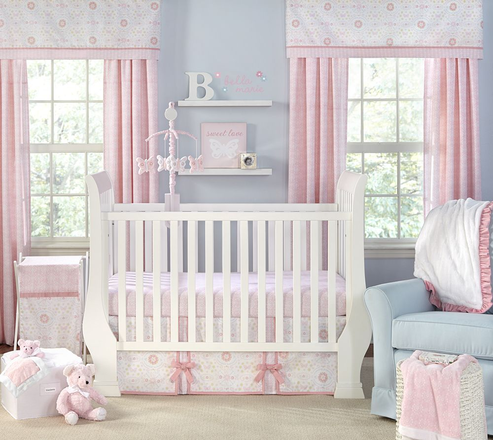 Light blue bedding for girls - Baby Nursery Awesome Girl Bedroom Decoration With White Crib Plus