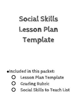 Social Skills Lesson Template With Instructions Rubric And
