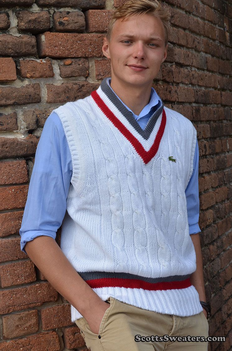 124-005Gry-Red Izod Lacoste Tennis Sweater Vest | Tennis Sweaters ...