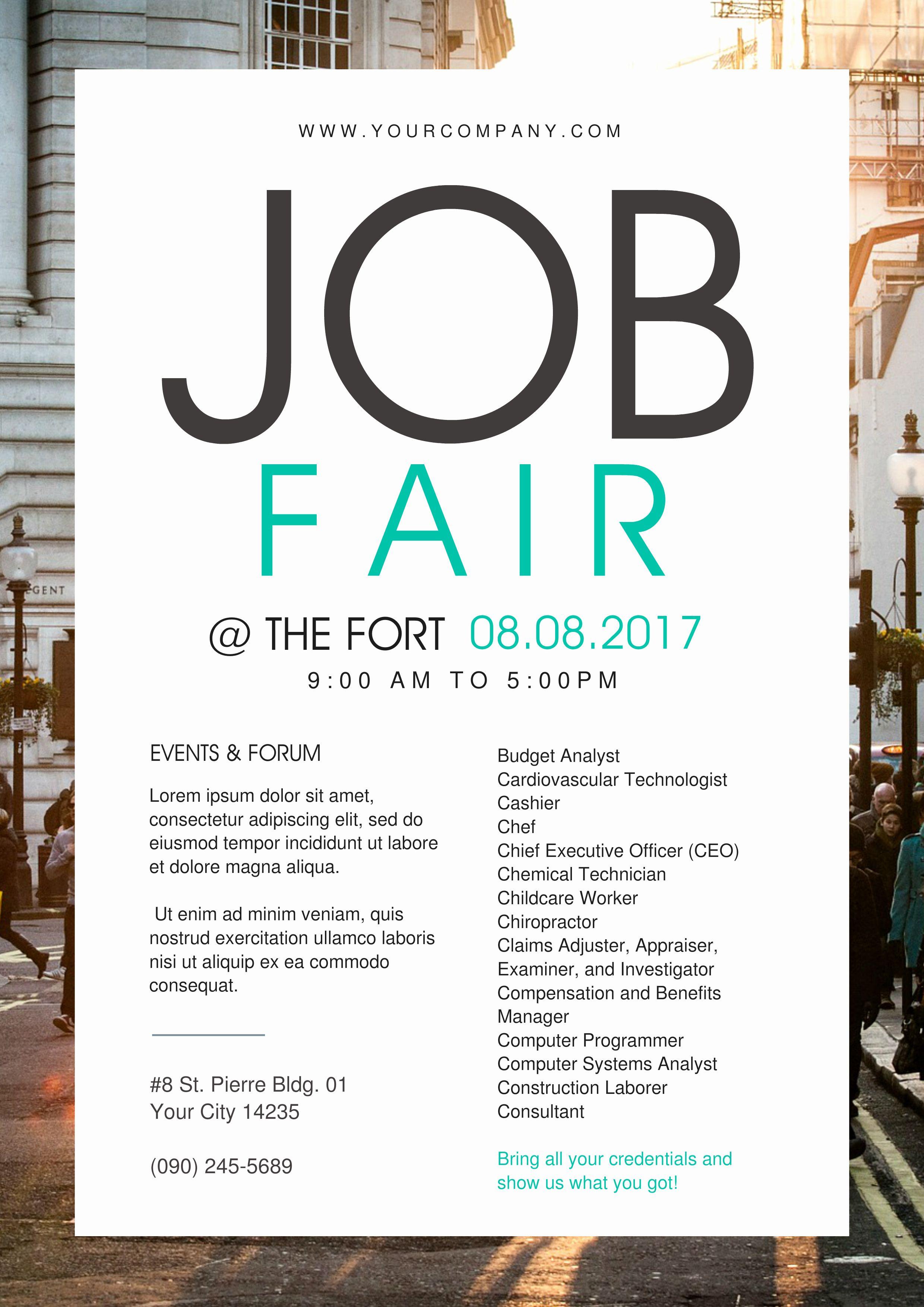 Job flyer template word in 2020 job fair flyer template