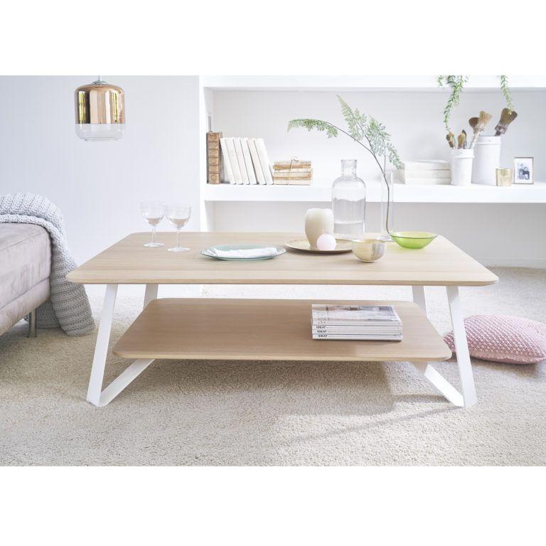 Table Basse Chene Blanc Design Scandinave Anna Audrey Savelon Table Blanche Et Bois Table Basse Chene Table Basse Blanche Et Bois