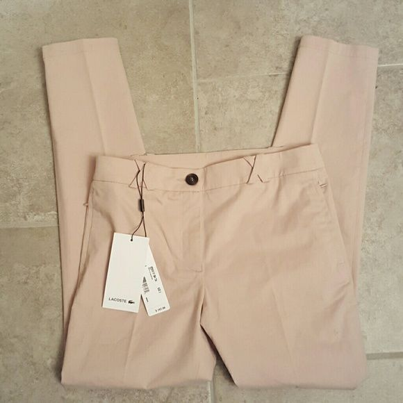 """Lacoste bluff trouser cropped pants NWT 2 Beautiful bluff (soft pink) color Size 2 (waist 15"""" across, 27.5"""" inseam) Brand new with tags  NO TRADES Lacoste Pants Ankle & Cropped"""