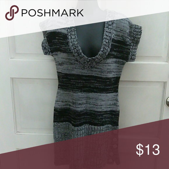 Sweater Tunic by Say What Perfect for Fall Black & Grey Sweater Say What? Tops
