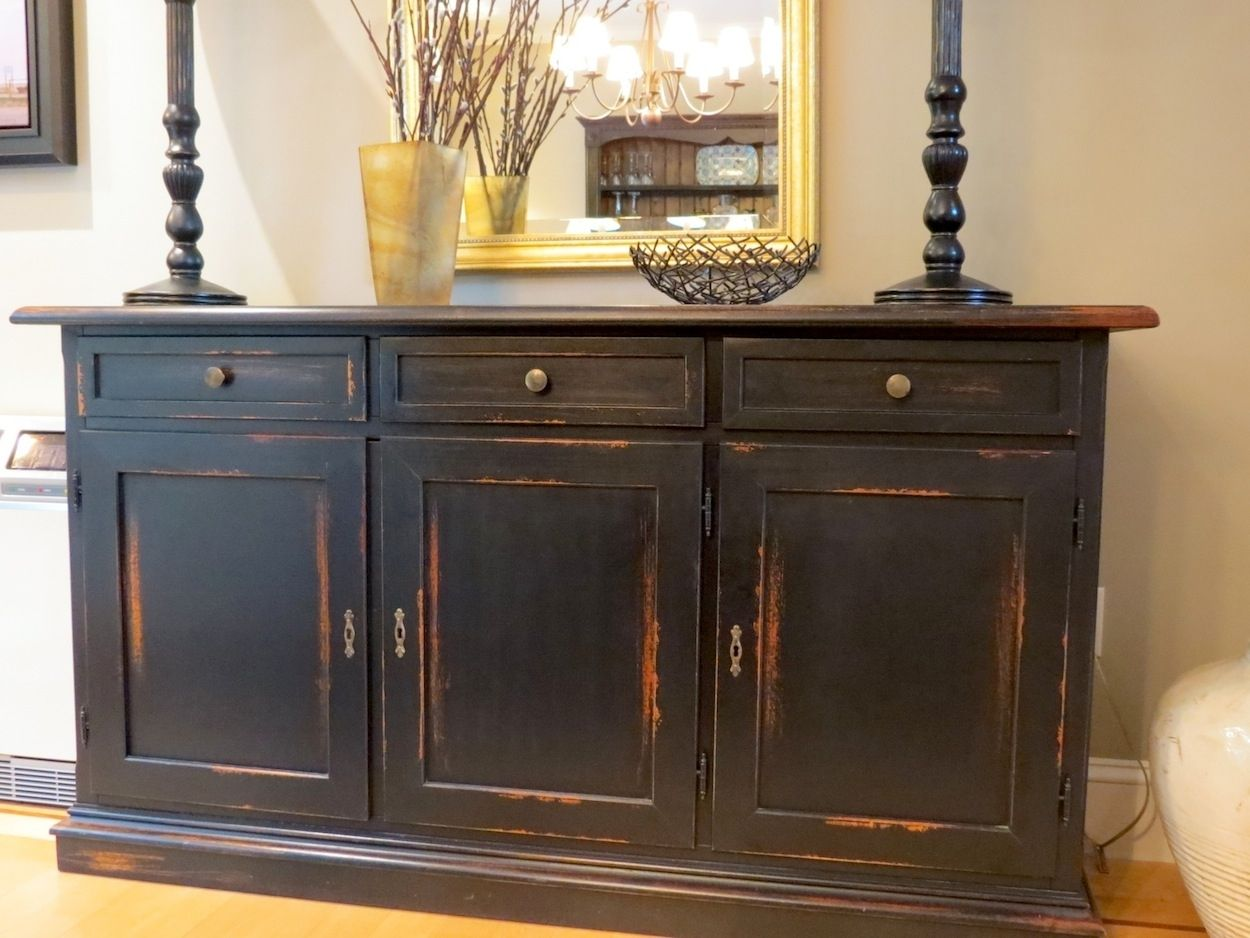 Distressed Black Wood | Custom Made Black Barn Wood Buffet With Distressed  Multi Color Rub .