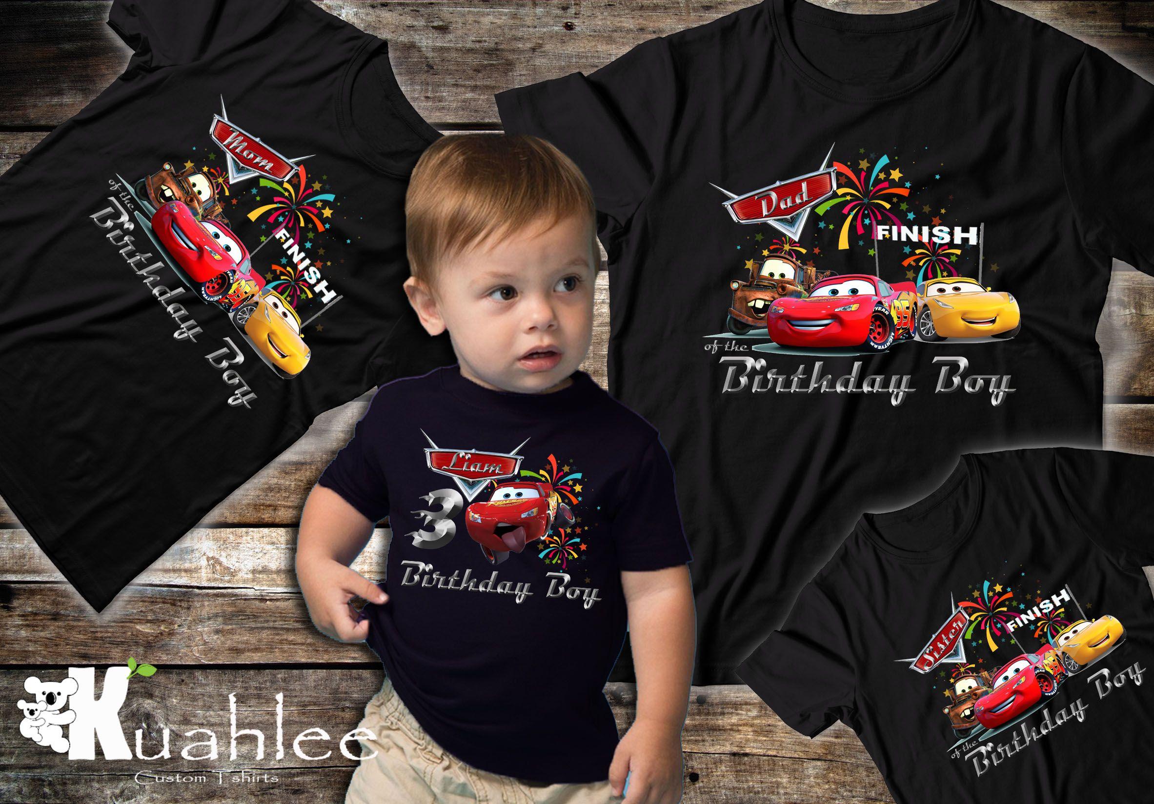 Disney Cars 3 Birthday Boy Shirt Family Lightning McQueen Party Theme Black