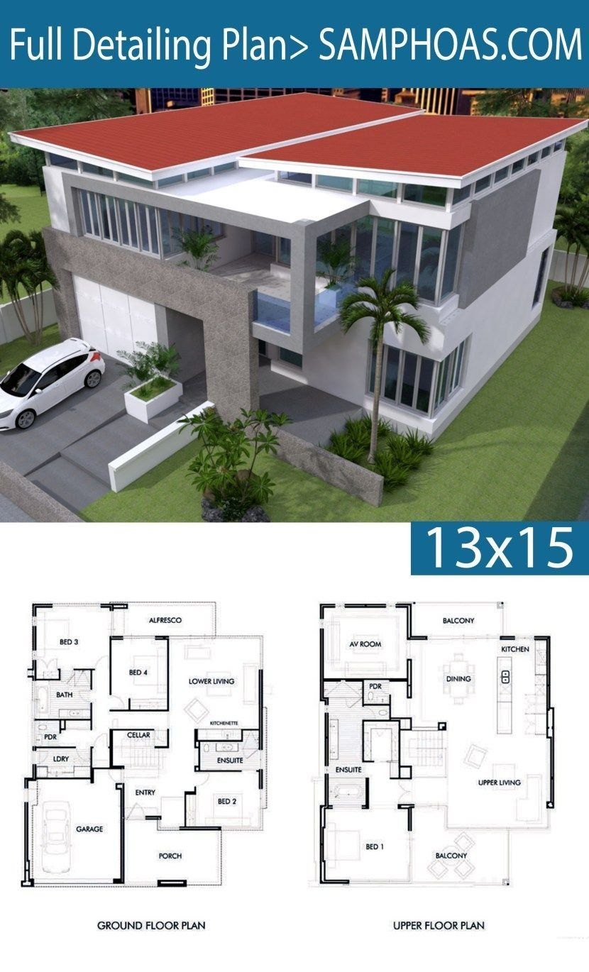 Modern House Plans Free Pdf 4 Bedrooms House Plan 13x15m In 2020 Modern House Plans House Plans 4 Bedroom House Plans