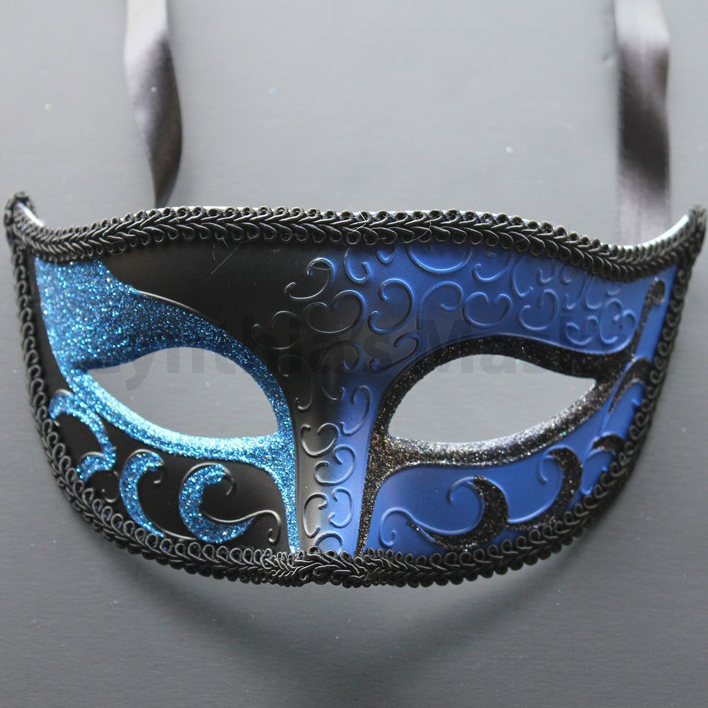 Masquerade mask masquerade mask vine mask metal lace masquerade - Blue Black Venetian Male Mask Masquerade F02bb For Party Display