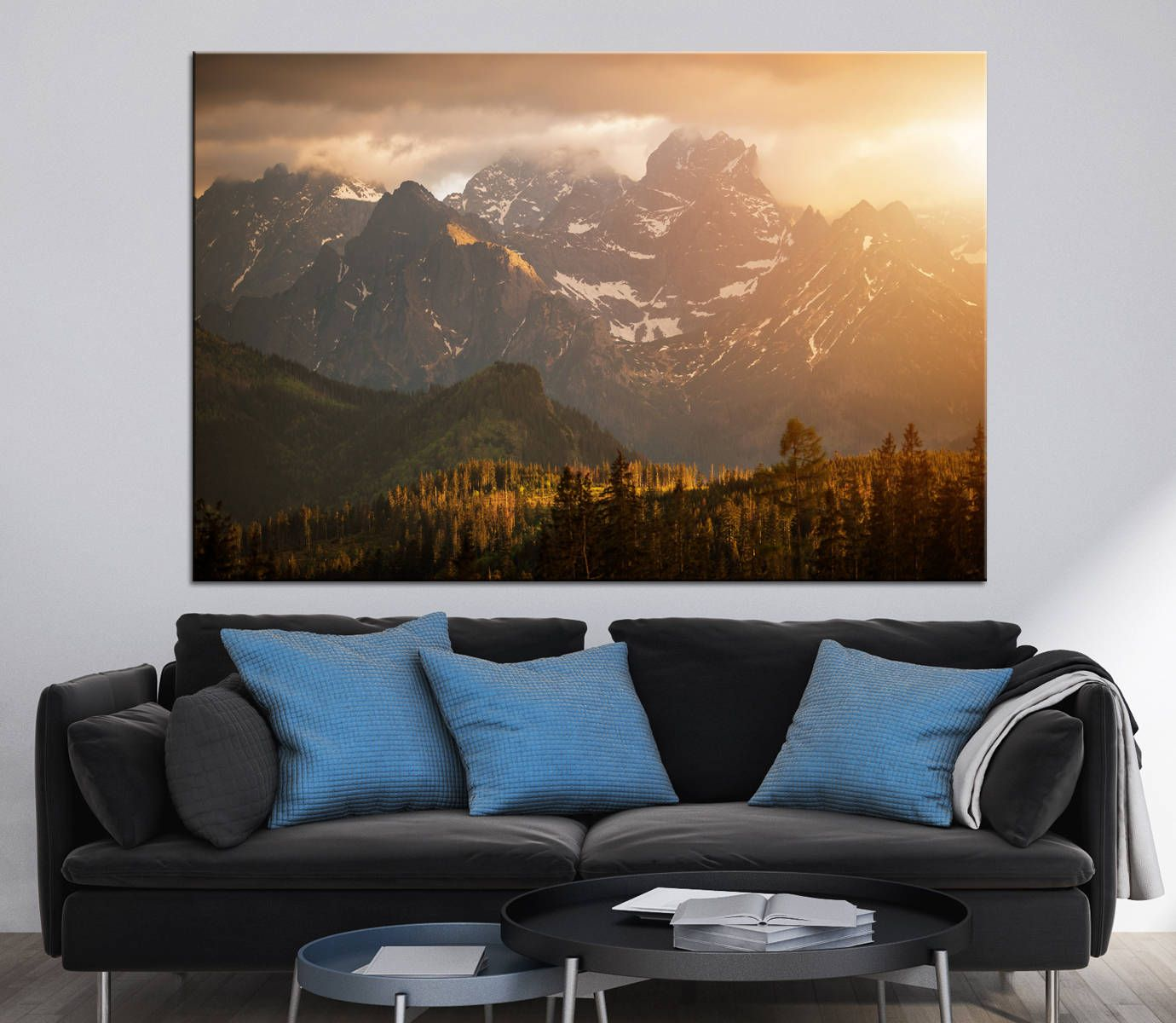 Superb Mountains Sunset Scenery Photoprint Multi Panel Canvas Print Wild Nature  Wall Art Decoration Extra Large Print