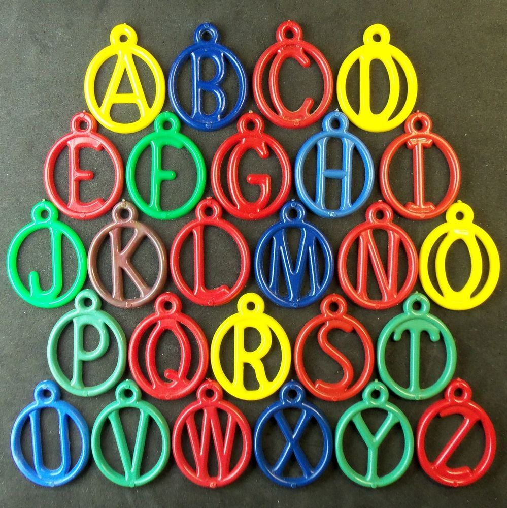 "ALPHABET DANGLES Set 26 ""C.J.CO."" Cracker Jack various colors 1954 Z-1186 #CrackerJack"