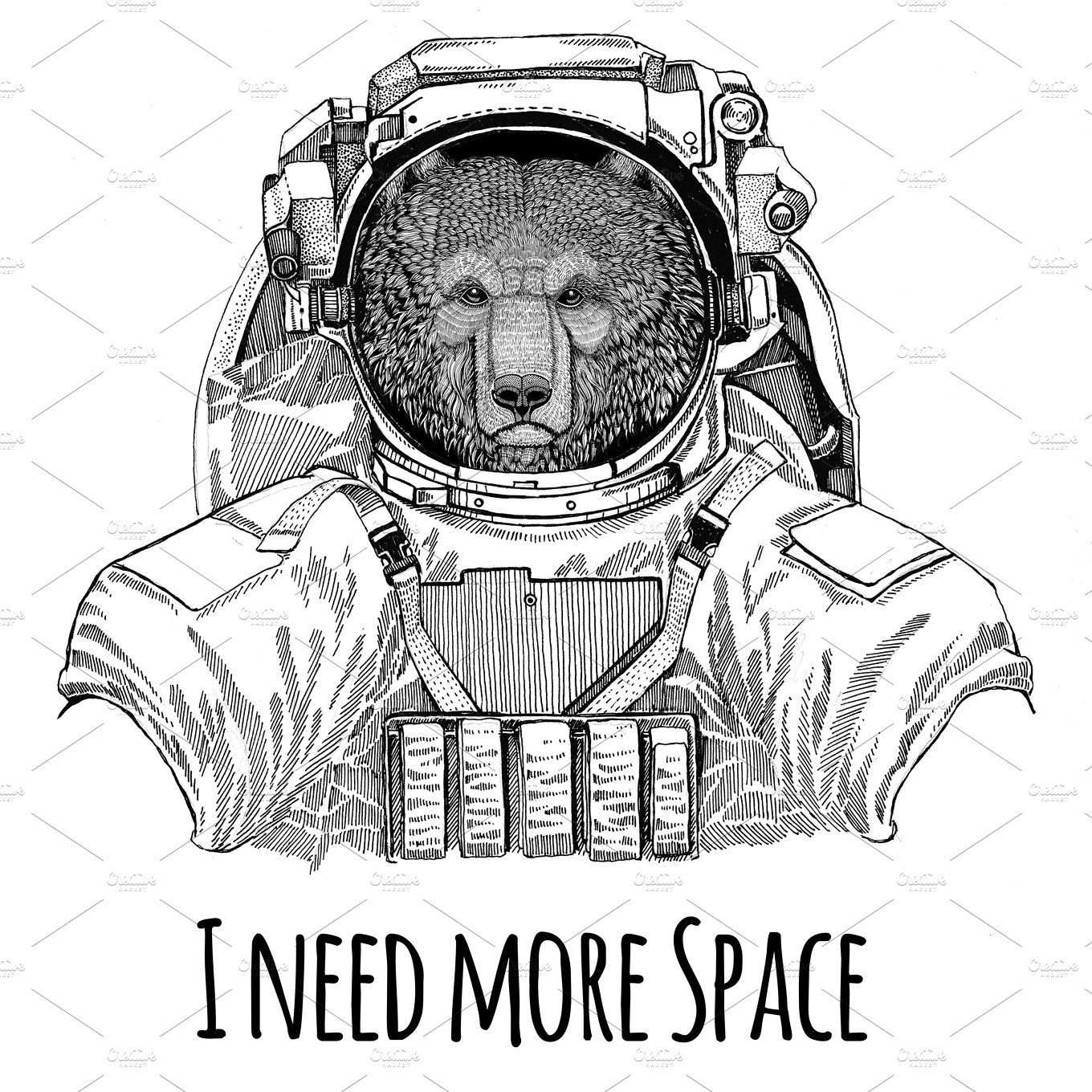 brown bear russian bear wearing space suit wild animal astronaut spaceman galaxy exploration hand drawn illustration